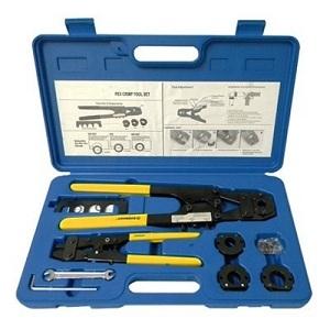 pex crimp tool kit with decrimper for sizes 3 8 1 2 5 8 3 4 ebay. Black Bedroom Furniture Sets. Home Design Ideas